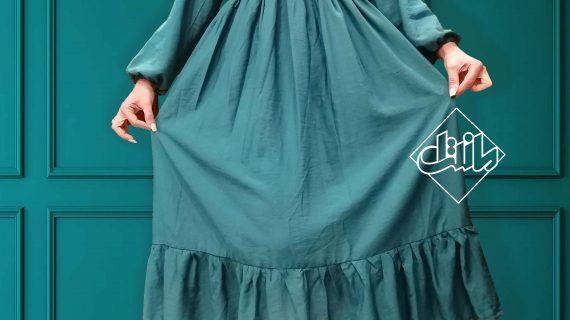پیراهن کشی آستین دار – پیراهن بلند نخی – پیراهن نخی زنانه – پیراهن ساحلی